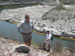 Geologist Tom Scott and Roger Portell at Langston Quarry, Franklin County