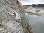 Geologist Tom Scott at Langston Quarry, April 2002